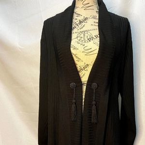 Exclusively Misook Black Ribbed Open Cardigan XS